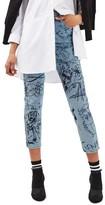 Topshop Women's Scribble Crop Mom Jeans