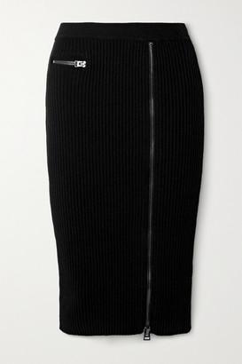 Tom Ford Ribbed Wool-blend Midi Skirt - Black