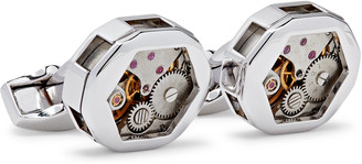 Tateossian Limited Edition Skeleton Gear Rhodium-Plated And Stainless Steel Cufflinks