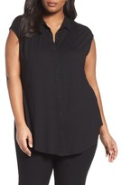 Eileen Fisher Plus Size Women's Stretch Knit Cap Sleeve Top