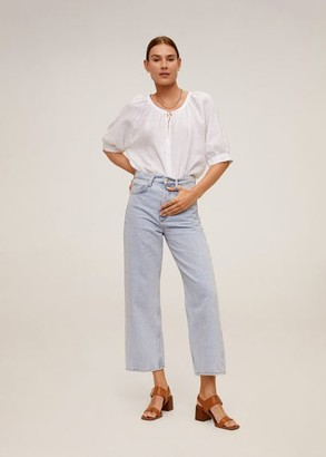 MANGO Linen blouse off white - 2 - Women