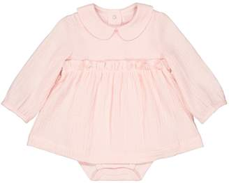 La Redoute Collections Cotton Blouse Bodysuit with Peter Pan Collar, Birth-3 Years