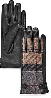 Barbour Galloway Plaid-Panel Gloves