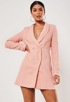 Missguided Pink Tweed Double Breasted Blazer Dress