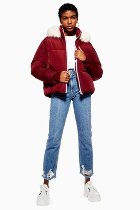 Topshop Womens Burgundy Faux Fur Hooded Puffer Jacket - Burgundy