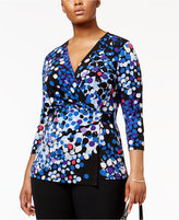 Anne Klein Plus Size Printed Faux-Wrap Top