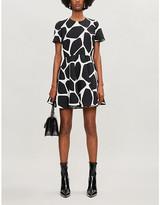 Valentino Giraffe-print wool and silk-blend mini dress