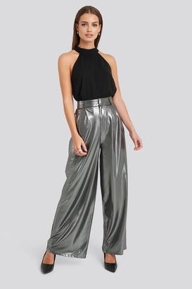 NA-KD High Waist Front Pleat Wide Leg Pants Silver