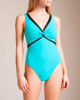 Karla Colletto Pleather U-Wire V-Neck Swimsuit