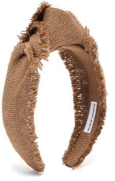 Lafayette House Of Loulou Knotted Canvas-weave Headband - Womens - Khaki