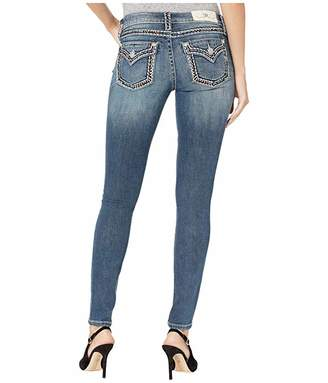 Miss Me Border Trim Hailey Skinny Jeans in Medium Blue