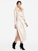 Halston Detachable Fur Collar Coat