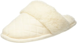 Dearfoams Womens Quilted Velour Scuff with Memory Foam Open Back Slippers