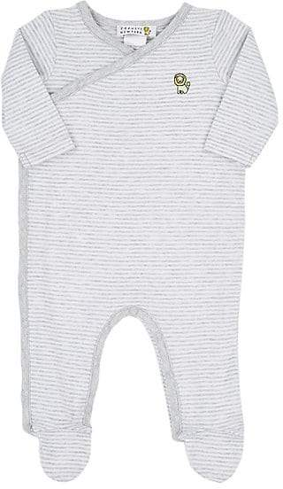 Barneys New York Infants' Striped Cotton Jersey Footie - Gray