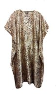 FIONALISSA Women Leopard Print Polyester Soft Satin Long Caftan/Dress. One Size Fit All.
