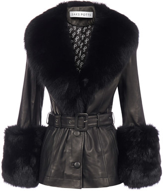 Saks Potts Fox-fur Trimmed Lambskin Short Coat