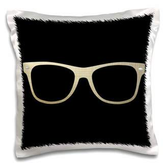 3drose 3dRose Gold Etched Effect Eye Glasses Illustration - Pillow Case, 16 by 16-inch