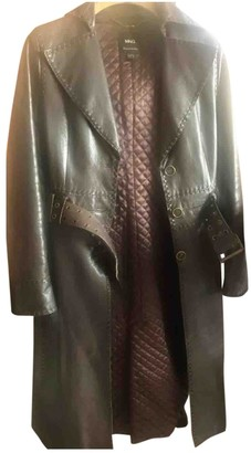 MANGO Brown Leather Coat for Women