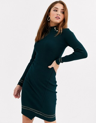 Morgan knitted jumper dress in forest green