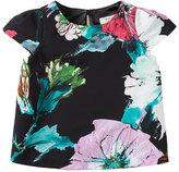 Milly Minis Childrenswear Paper Floral Chloe Top, Black, Size 8-14
