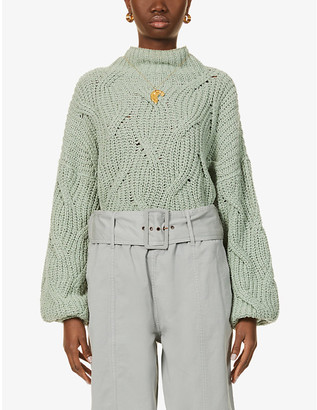 Free People Cable cotton-knit jumper