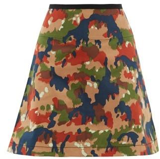 La Fetiche - Camouflage Print Cotton Mini Skirt - Womens - Multi