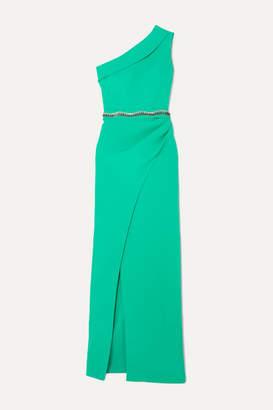 Safiyaa Camille One-shoulder Crystal-embellished Crepe Gown - Green