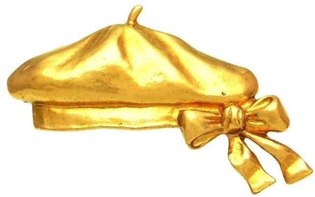 Chanel Beret Gold Tone Metal Pin Brooch
