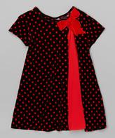 Mulberribush Black & Red Polka Dot Dress - Toddler & Girls