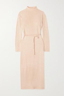 Vince Belted Cotton-blend Midi Dress - Beige