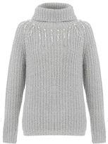 Quiz Grey Pearl Drop Knit Jumper