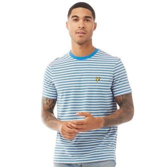 Lyle And Scott Vintage Mens Stripe T-Shirt Z797 Bright Royal Blue