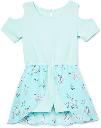 One Step Up Girls' Rompers SEA - Sea Mist Floral Cutout-Shoulder Walk-Through Romper Dress - Toddler & Girls