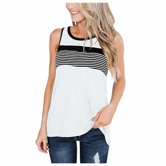 CUTUDE Women's Tank Tops Flower Striped Printed Summer Holiday Loose Sleeveless Vest Blouse Ladies Sexy Bandage Back Hem Layed Zipper V-Neck T Shirts Casual Beachwear (White M)