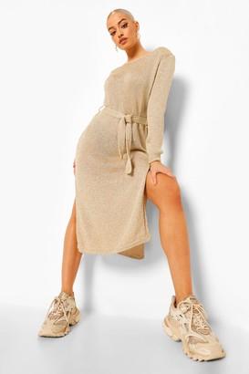 boohoo Glitter Shoulder Pad Knitted Maxi Dress