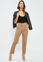 Missguided Nude Paperbag Waist Cigarette Trousers