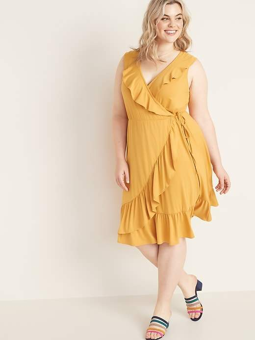 Plus Size Faux Wrap Dress - ShopStyle