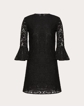 Valentino Heavy Lace Dress Women Black Cotton 71%, Viscose 21%, Polyamide 8% 36