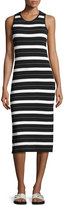 MICHAEL Michael Kors James Striped Sleeveless Midi Dress, Black Pattern