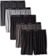 Hanes Men's 5 Pack Ultimate Dyed Exposed Waistband Knit Boxer - Colors May Vary