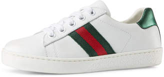 Gucci New Ace Leather Tennis Shoe, Toddler/Youth 10.5T-4Y