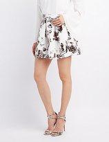 Charlotte Russe Metallic Floral Skater Skirt