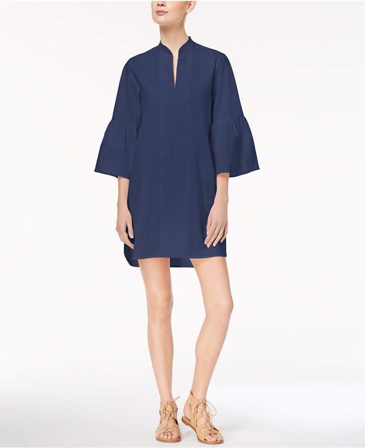 Marella Cotton Stretch Poplin Bell-Sleeve Caftan Dress