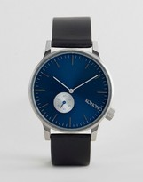 Komono Winston Subs Black Leather Watch With Blue Dial