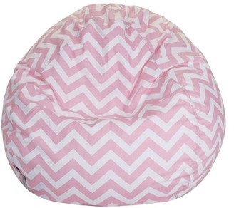 Majestic Home Goods Indoor BabyPink Chevron Classic Bean Bag Chair 28 in L x 28 in W x 22 in H