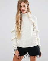 Glamorous Cable Knit High Neck Sweater With Ruffle Detail