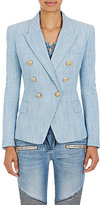 Balmain Women's Cotton-Blend Double-Breasted Blazer-BLUE