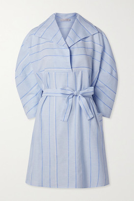 Palmer Harding Belted Striped Cotton And Linen-blend Mini Dress - Light blue