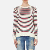 Samsoe & Samsoe Women's Mallie O Neck Striped Jumper Breton Beet