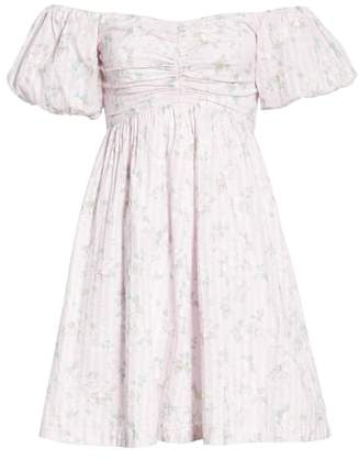 Rebecca Taylor Adrienne Puff Sleeve Fit & Flare Dress